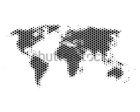 Stock photo: World map in hexagons