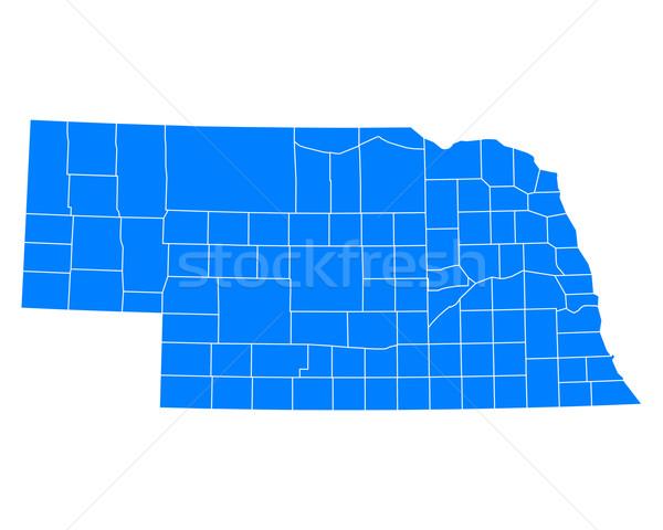 Mapa Nebraska fundo azul viajar vetor Foto stock © rbiedermann