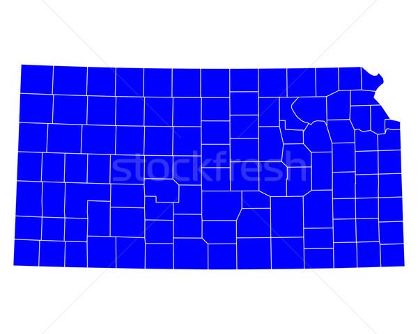Harita Kansas mavi ABD vektör yalıtılmış Stok fotoğraf © rbiedermann