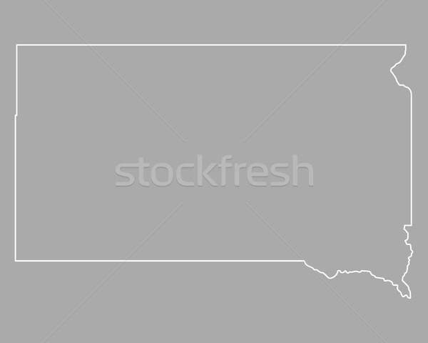 Térkép Dél-Dakota háttér fehér vonal USA Stock fotó © rbiedermann