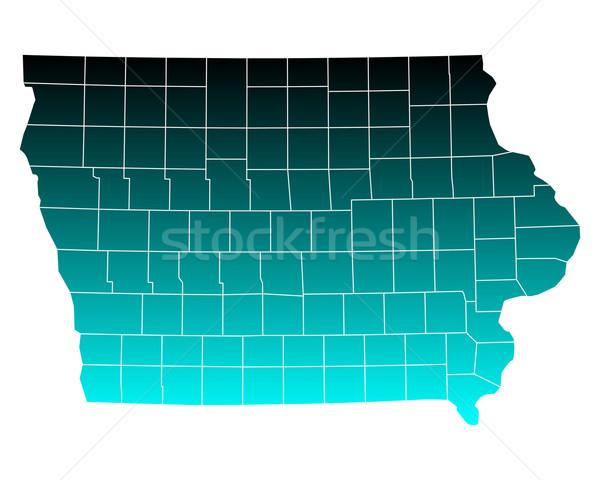 Térkép Iowa zöld kék utazás USA Stock fotó © rbiedermann
