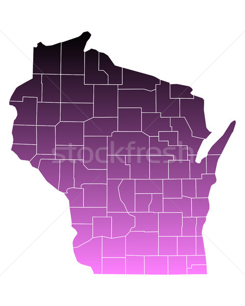 Carte Wisconsin Voyage rose USA isolé Photo stock © rbiedermann