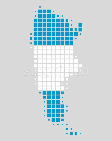 Stock fotó: Térkép · zászló · Argentína · kék · utazás · minta