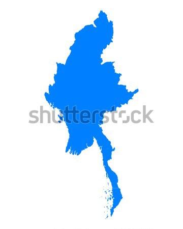 Harita Myanmar mavi vektör yalıtılmış örnek Stok fotoğraf © rbiedermann