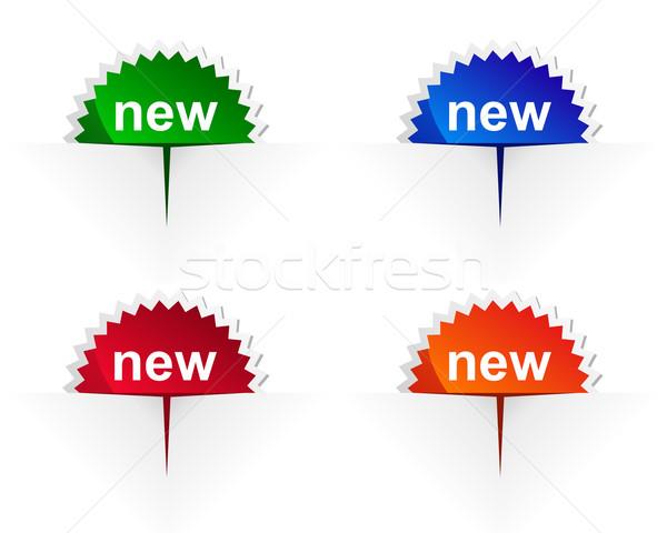 Stockfoto: Nieuwe · label · Blauw · Rood · knop · badge