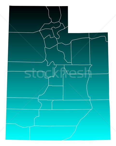 Carte Utah vert bleu USA vecteur Photo stock © rbiedermann