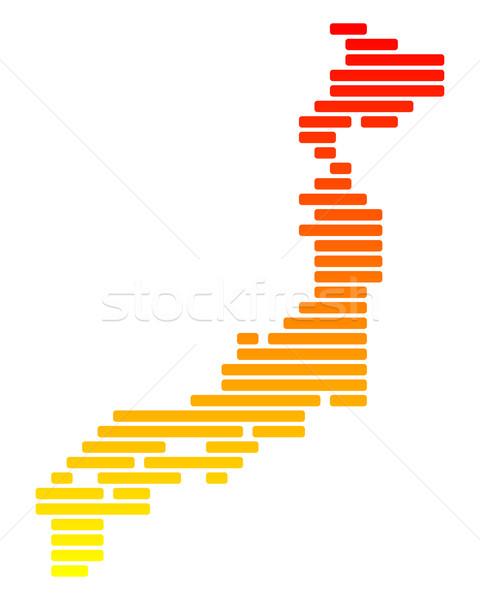 карта Япония оранжевый шаблон линия точки Сток-фото © rbiedermann