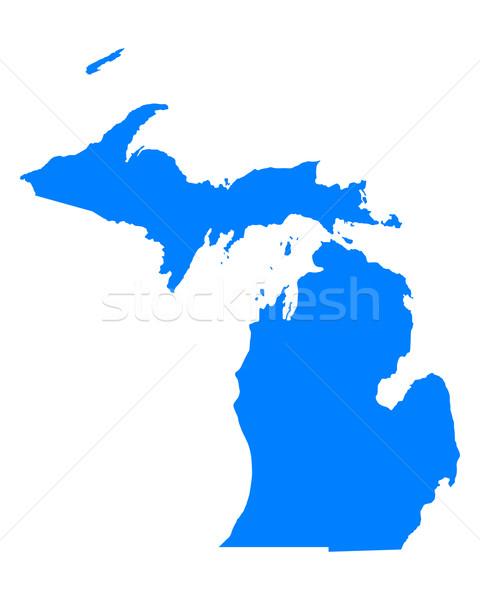 Mappa Michigan blu viaggio america USA Foto d'archivio © rbiedermann
