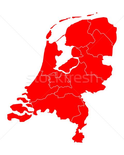 Stock fotó: Térkép · Hollandia · utazás · piros · keret · izolált