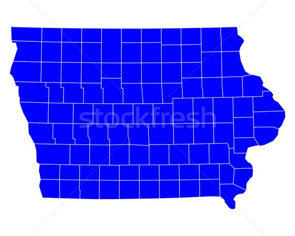Térkép Iowa kék utazás USA izolált Stock fotó © rbiedermann
