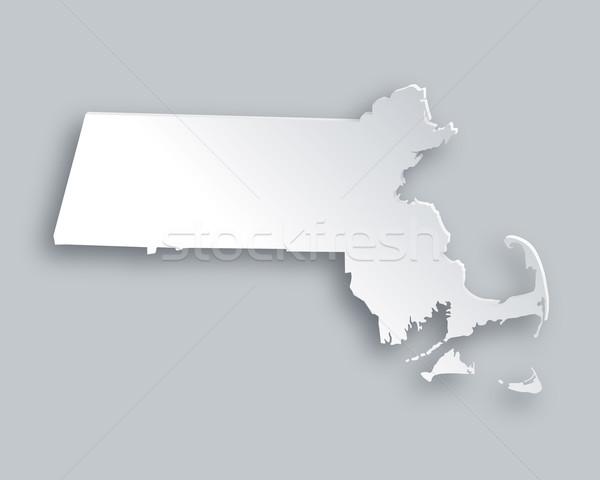 карта Массачусетс бумаги фон путешествия карт Сток-фото © rbiedermann