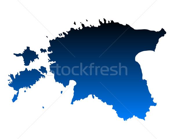 карта Эстония синий путешествия вектора Сток-фото © rbiedermann
