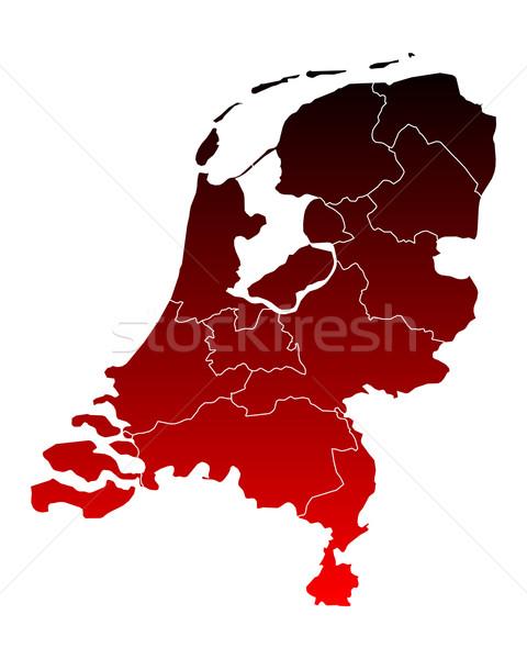 Stock fotó: Térkép · Hollandia · háttér · piros · vonal · Hollandia