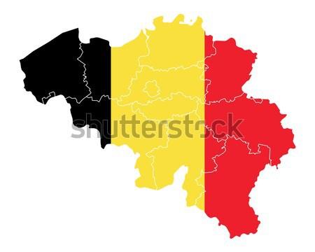 Térkép zászló Belgium szalag vektor Stock fotó © rbiedermann