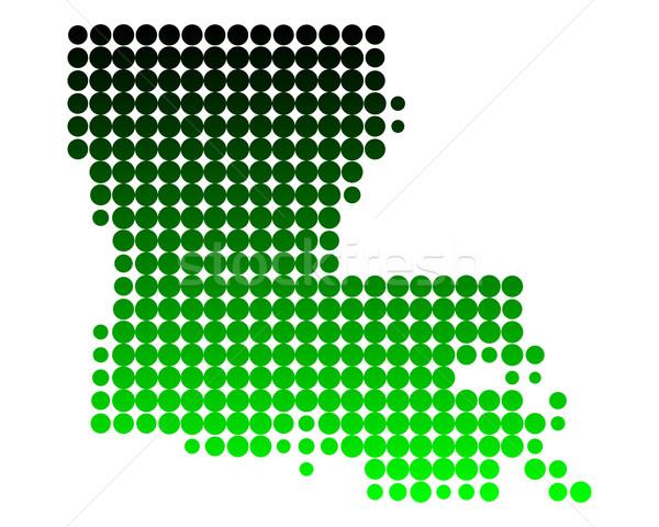 карта Луизиана зеленый шаблон Америки круга Сток-фото © rbiedermann