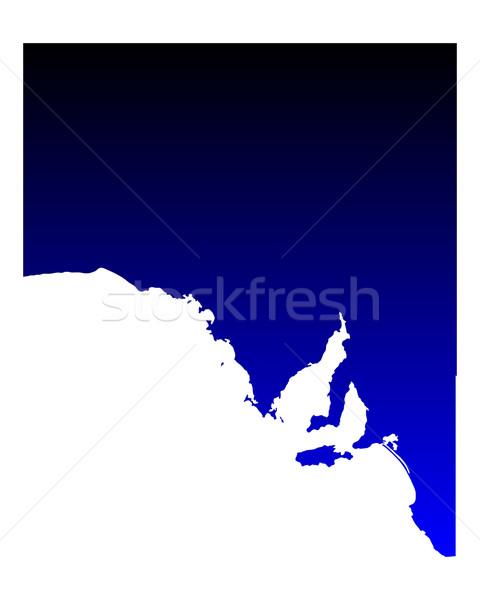 Térkép Dél-Ausztrália kék vektor Ausztrália izolált Stock fotó © rbiedermann