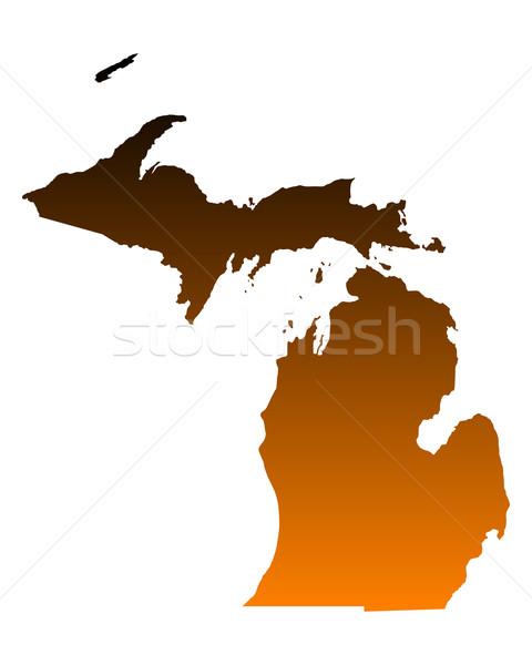 Harita Michigan arka plan hat Amerika ABD Stok fotoğraf © rbiedermann