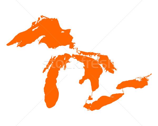 Mappa viaggio america Michigan Canada Foto d'archivio © rbiedermann