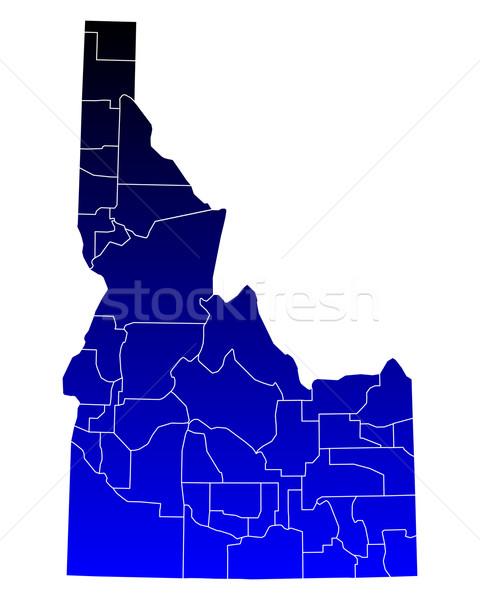 Mapa Idaho azul viajar EUA isolado Foto stock © rbiedermann