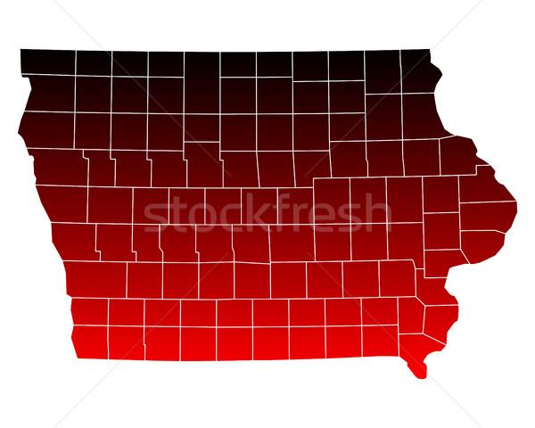 Harita Iowa seyahat kırmızı ABD yalıtılmış Stok fotoğraf © rbiedermann