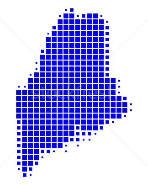 Kaart Maine Blauw patroon amerika vierkante Stockfoto © rbiedermann