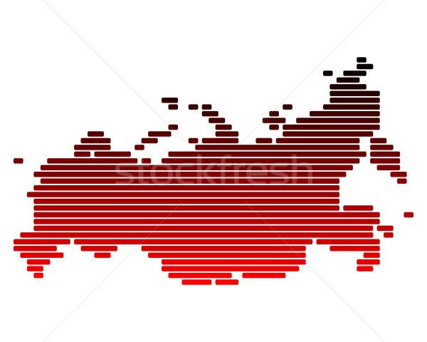 Stock fotó: Térkép · Oroszország · piros · vonal · vonalak · pont