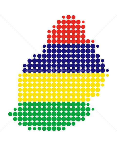 Pokaż banderą Mauritius tle podróży kółko Zdjęcia stock © rbiedermann