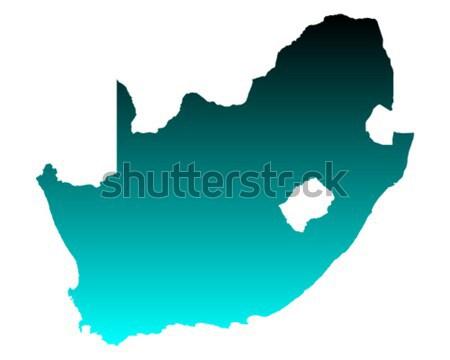 Kaart South Africa groene Blauw vector geïsoleerd Stockfoto © rbiedermann