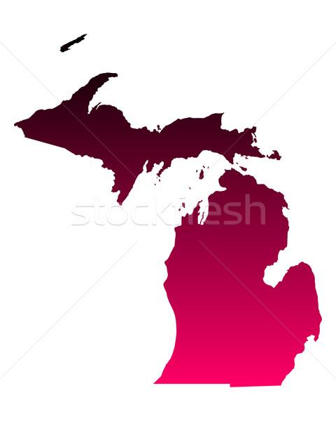 Mappa Michigan viaggio rosa america viola Foto d'archivio © rbiedermann