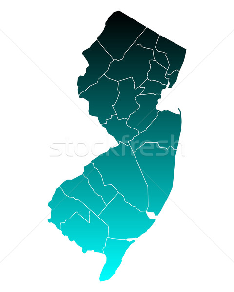 Kaart New Jersey groene Blauw reizen nieuwe Stockfoto © rbiedermann