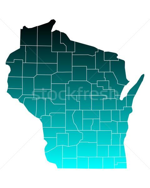 Carte Wisconsin vert bleu Voyage USA Photo stock © rbiedermann