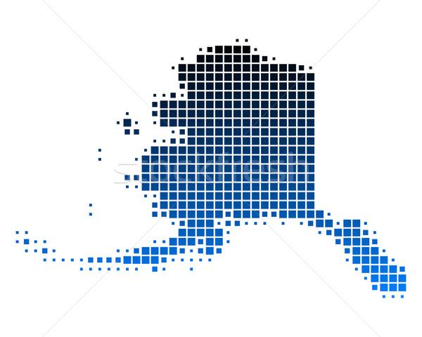 Mapa Alasca azul padrão EUA praça Foto stock © rbiedermann