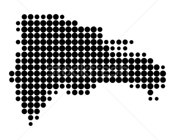 Foto stock: Mapa · República · Dominicana · negro · patrón · círculo · punto