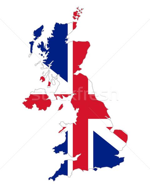 Kaart vlag Verenigd Koninkrijk Engeland banner unie Stockfoto © rbiedermann
