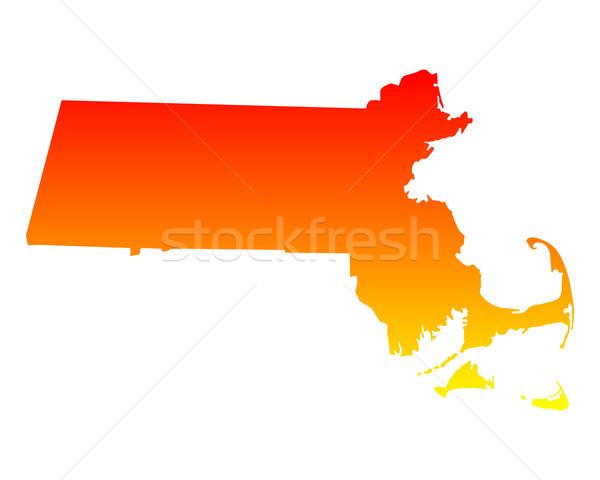 Carte Massachusetts Voyage Amérique USA isolé Photo stock © rbiedermann