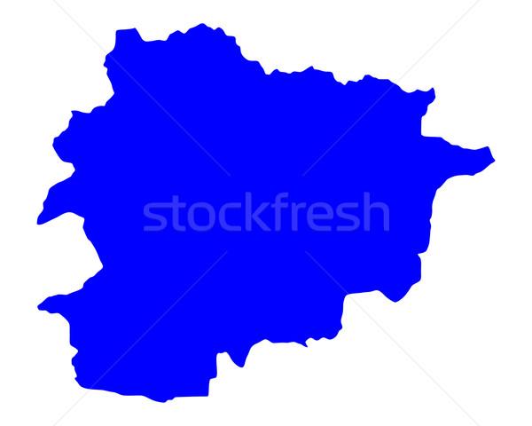 Kaart Andorra Blauw reizen vector Stockfoto © rbiedermann