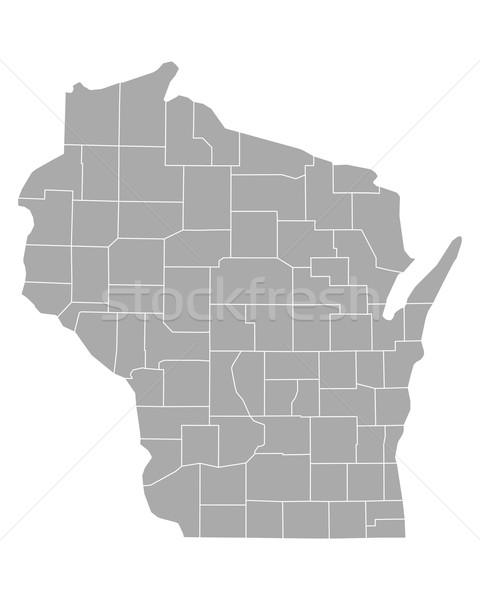 Harita Wisconsin arka plan hat vektör örnek Stok fotoğraf © rbiedermann