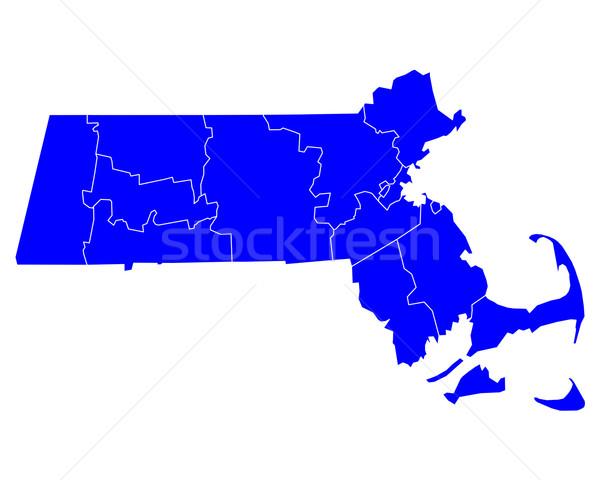 карта Массачусетс синий путешествия США изолированный Сток-фото © rbiedermann