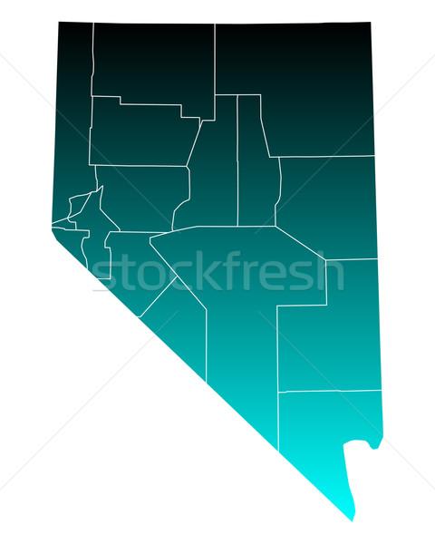 Mapa Nevada verde azul viajar EUA Foto stock © rbiedermann