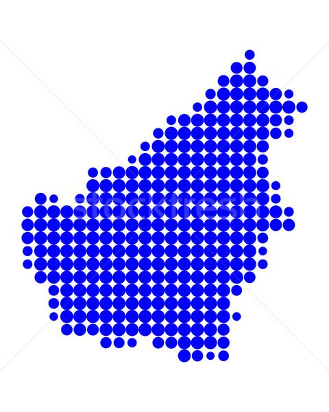 Kaart borneo Blauw patroon cirkel punt Stockfoto © rbiedermann