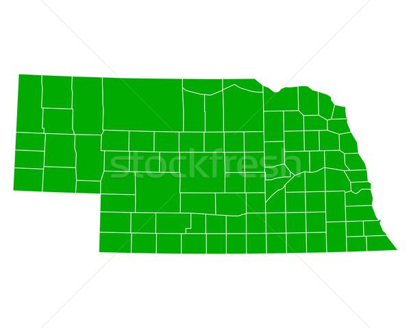 Mapa Nebraska fundo verde linha vetor Foto stock © rbiedermann