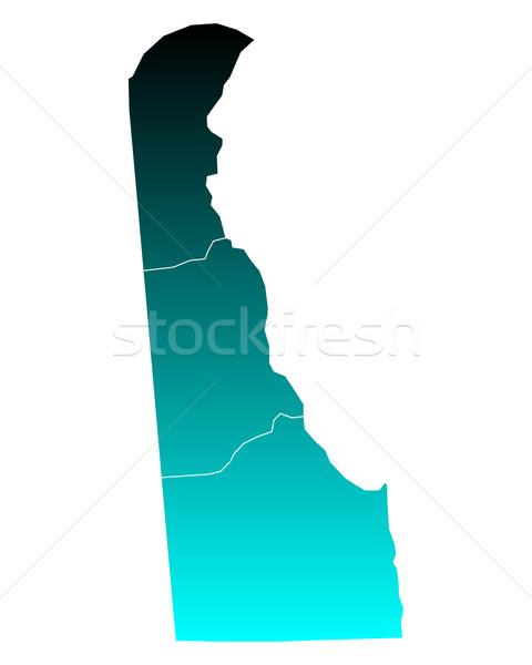 Stockfoto: Kaart · Delaware · groene · Blauw · reizen · USA