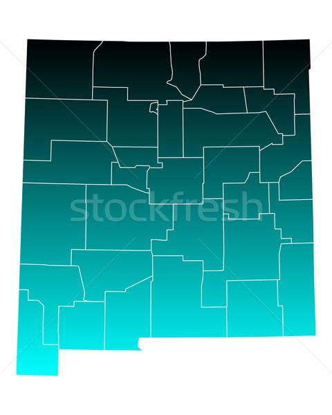 Kaart New Mexico groene Blauw reizen USA Stockfoto © rbiedermann