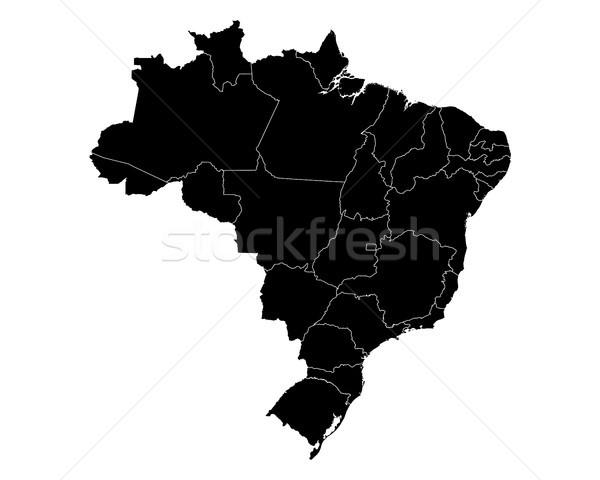 Kaart Brazilië achtergrond zwarte lijn vector Stockfoto © rbiedermann