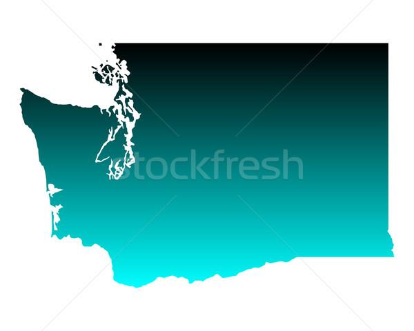 Harita Washington yeşil mavi seyahat Amerika Stok fotoğraf © rbiedermann