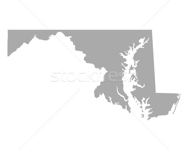 Stock fotó: Térkép · Maryland · utazás · Amerika · izolált · illusztráció