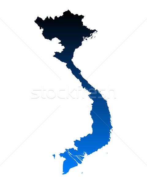 Carte Viêt-Nam bleu vecteur isolé Photo stock © rbiedermann