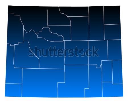 Kaart Wyoming achtergrond lijn vector illustratie Stockfoto © rbiedermann