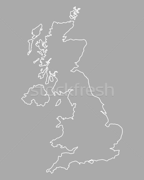 Karte Großbritannien Vektor Vereinigtes Königreich isoliert grau Stock foto © rbiedermann