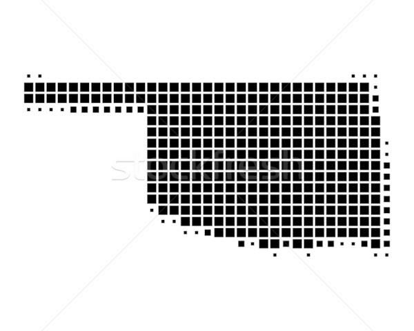 Kaart Oklahoma zwarte patroon amerika vierkante Stockfoto © rbiedermann